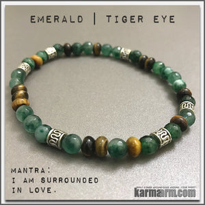 Bracelets. #LOA. Law of Attraction. womens mens I Beaded & Charm Yoga Mala I Meditation & Mantra I Spiritual | karma arm. Emerald. Tiger Eye.
