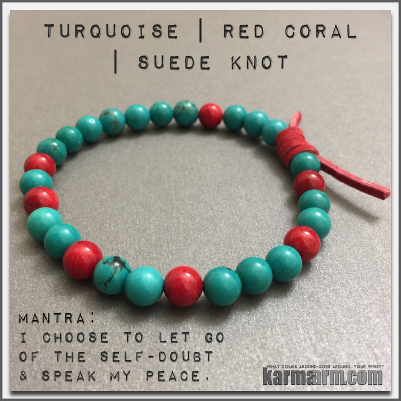 Mala Yoga bracelet - meditation meaning – mens womens charm chakra beaded stacks. red coral turquoise.