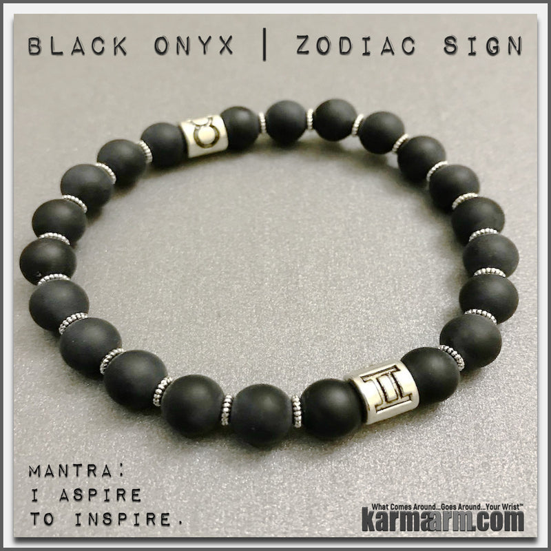 mens yoga mala bracelet womens chakra meditation beaded charm stacks. black onyx zodiac horoscope birthstone sign.