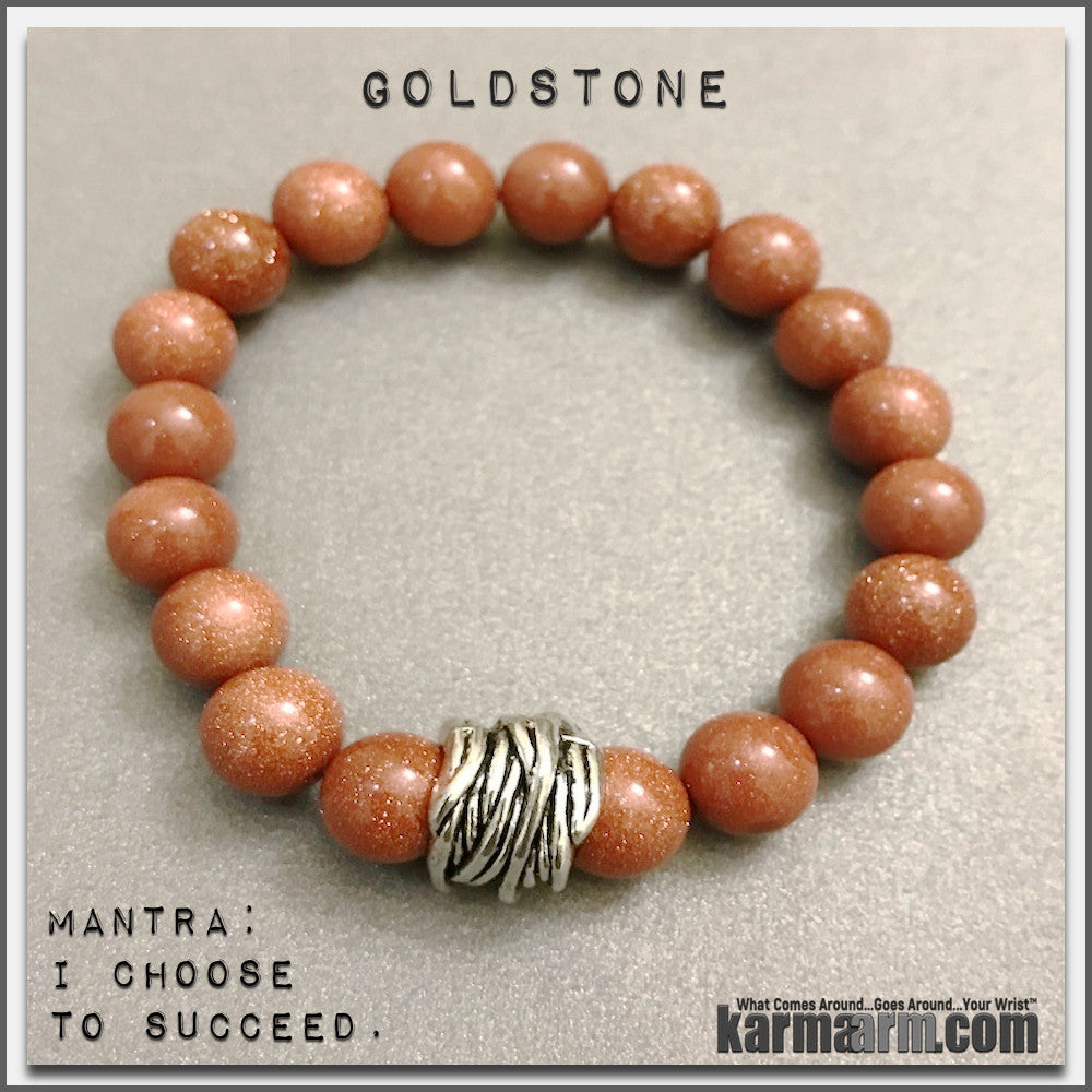 Bracelets womens mens I Beaded & Charm Yoga Mala I Meditation & Mantra I Spiritual | karma arm. Goldstone. 10mm.