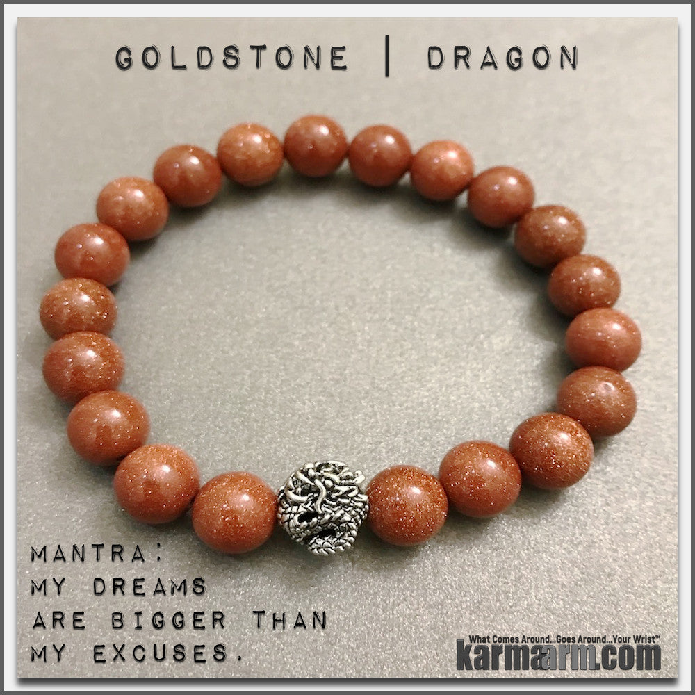Bracelets womens mens I Beaded & Charm Yoga Mala I Meditation & Mantra I Spiritual | karma arm. Goldstone Dragon.