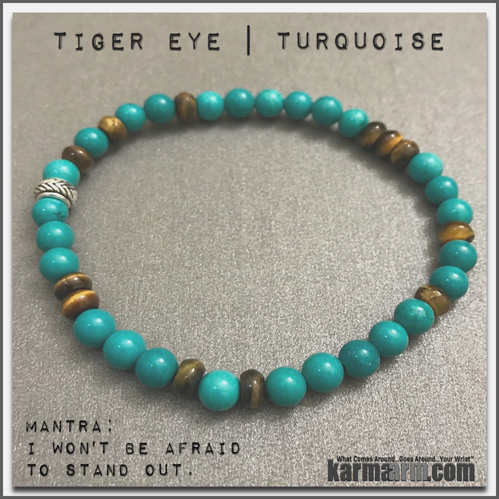 Bracelets womens mens I Beaded & Charm Yoga Mala I Meditation & Mantra I Spiritual | karma arm .  Tiger eye Turquoise.