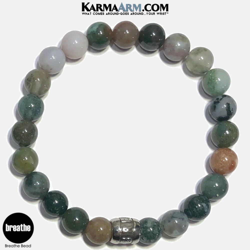 Breathe Meditation Mantra Yoga Bracelets. Self Care Wellness Wristband Jewelry. Indian Agate.