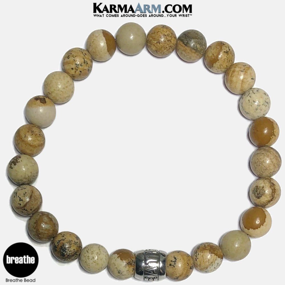 Breathe Meditation Mantra Yoga Bracelets. Self-Care Wellness Wristband Jewelry. Picture Jasper.