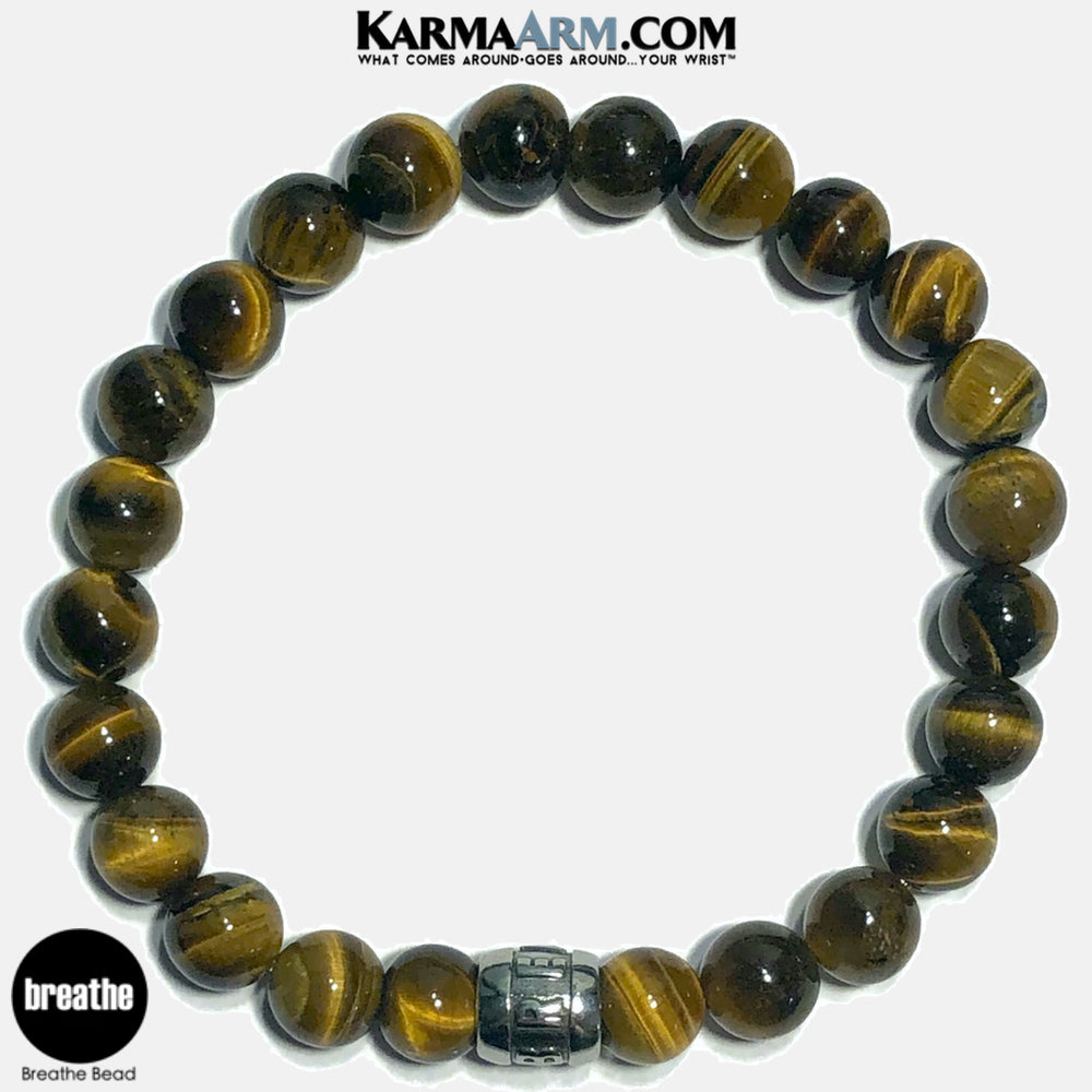 Breathe Meditation Mantra Yoga Bracelets. Self-Care Wellness Wristband Jewelry. Tiger Eye.