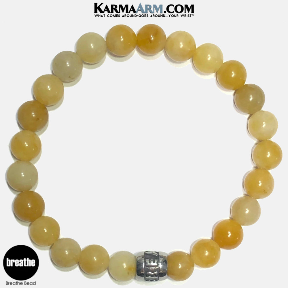 Breathe Meditation Mantra Yoga Bracelets. Self-Care Wellness Wristband Jewelry. Yellow Aventurine. copy 2