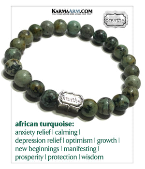 Breathe Mantra Meditation Wellness Yoga Bracelets. Mens Wristband Self-Care Jewelry. African Turquoise.