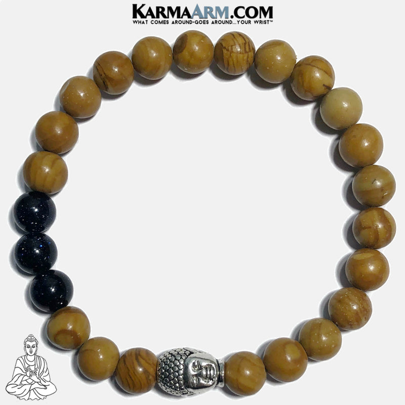 Buddha Bracelet Meditation Self-Care Wellness Mantra Yoga Bracelets. Mens Wristband Jewelry. Tigerskin Jasper. Blue Goldstone.