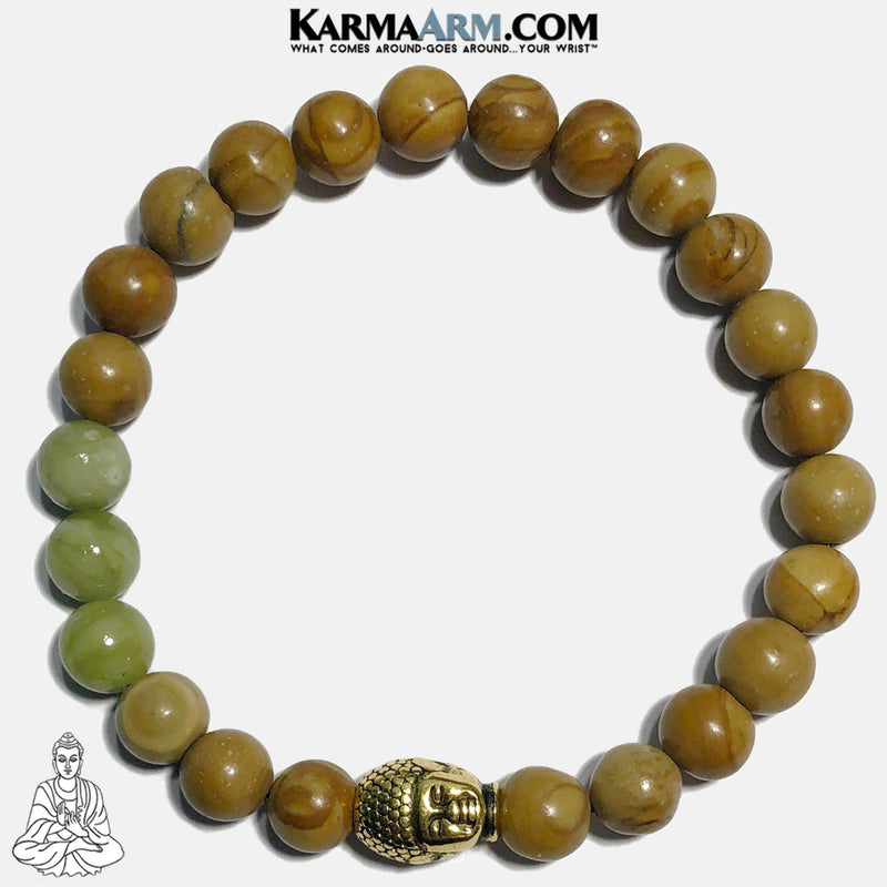 Buddha Bracelet Meditation Self-Care Wellness Mantra Yoga Bracelets. Mens Wristband Jewelry. Tigerskin Jasper.Jade.
