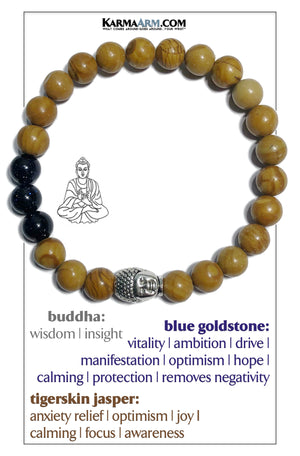 Buddha Bracelet Wellness Self-Care Meditation Mantra Yoga Bracelets. Mens Wristband Jewelry. Tigerskin Jasper.    Blue Goldstone.
