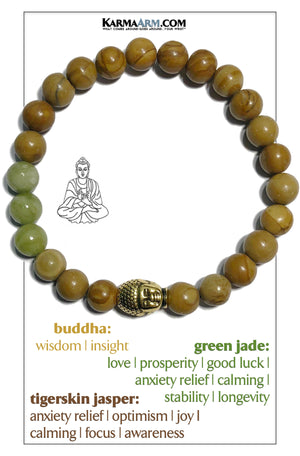 Buddha Bracelet Wellness Self-Care Meditation Mantra Yoga Bracelets. Mens Wristband Jewelry. Tigerskin Jasper.    copy