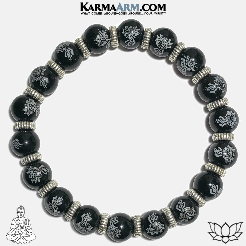 Buddha Lotus Meditation Self-Care Wellness Yoga Bracelets. Mens Wristband Jewelry. Black Agate.