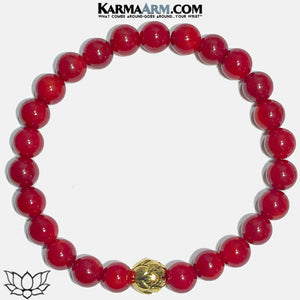 Buddha Lotus Meditation Yoga Bracelet. Mens Self-Care Wellness Wristband Jewelry. Red Coral. copy 2