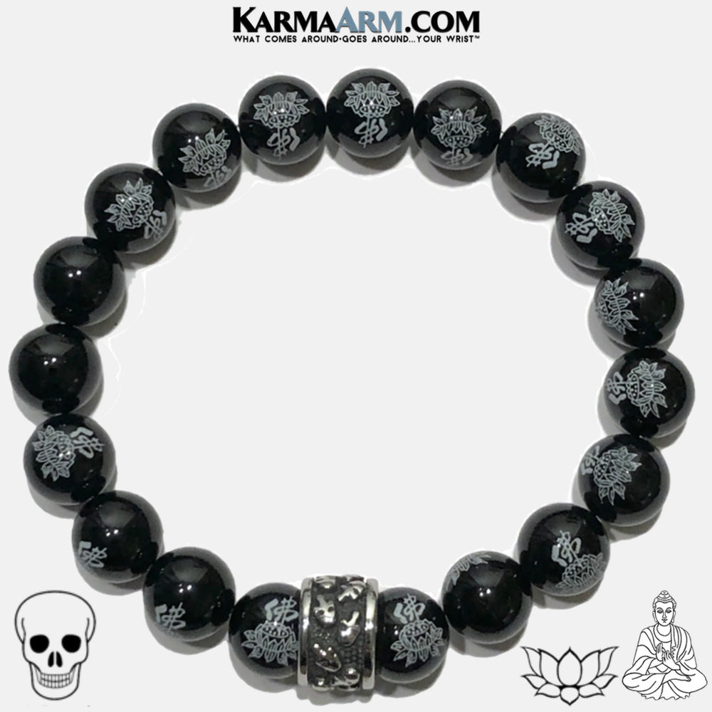 Buddha Lotus Skull Meditation Mantra Yoga Bracelet. Self-Care Wellness Wristband Skull Jewelry. Buddha Lotus Agate.