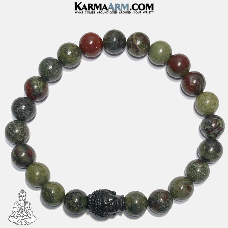 Buddha Meditation Mantra Yoga Bracelets. Self Care Wellness Wristband Jewelry. Dragon Blood Stone. copy 2