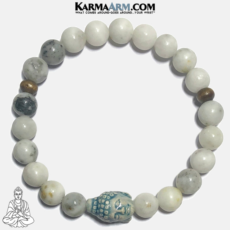 Buddha Meditation Mantra Yoga Bracelets. Self-Care Wellness Wristband Jewelry. Green Earth Jasper. copy