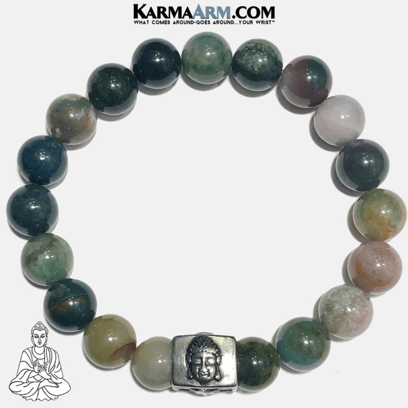 Buddha Meditation Self-Care Wellness Mantra Yoga Bracelets. Mens Wristband Jewelry. India Agate.