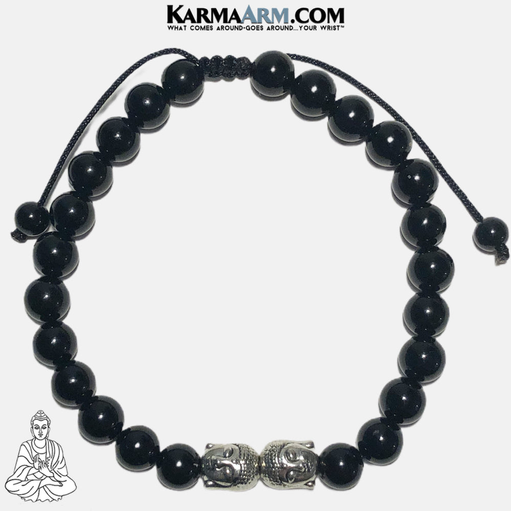 Mindfulness Buddha Wellness Self-Care Meditation Yoga Bracelets. Mens Wristband Jewelry. Black Onyx.