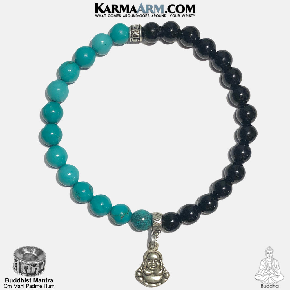 Buddha Om Mani Padme Hum Meditation Mantra Self-Care Wellness Yoga Bracelets. Mens Wristband Jewelry. Turquoise Onyx.