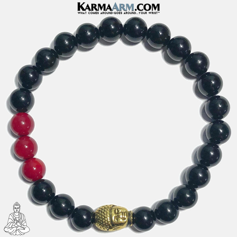 Buddha Red Coral Mindful Meditation Self-Care Wellness Yoga Bracelets. Mens Wristband Jewelry. Black Onyx.