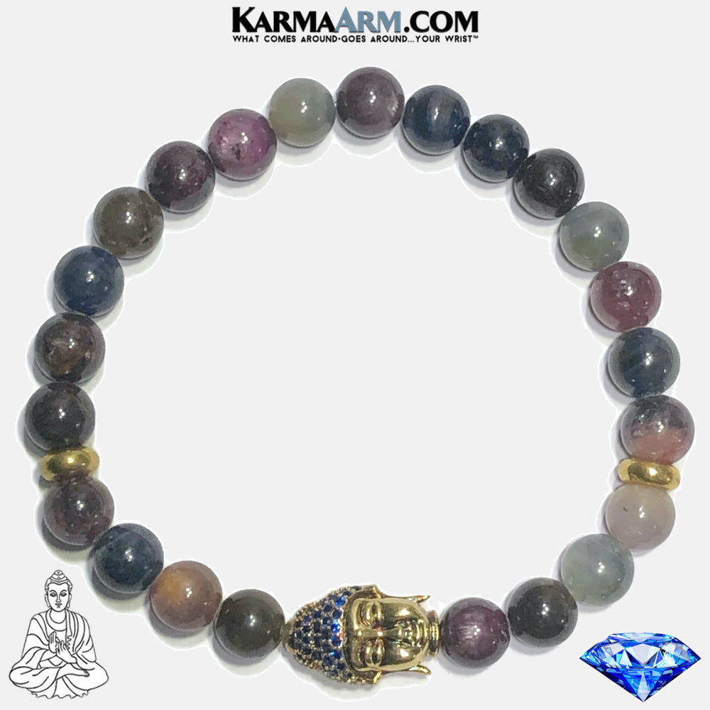Buddha Ruby Sapphire Meditation Mantra Yoga Bracelets. Mens Wristband Jewelry. Corundum. copy