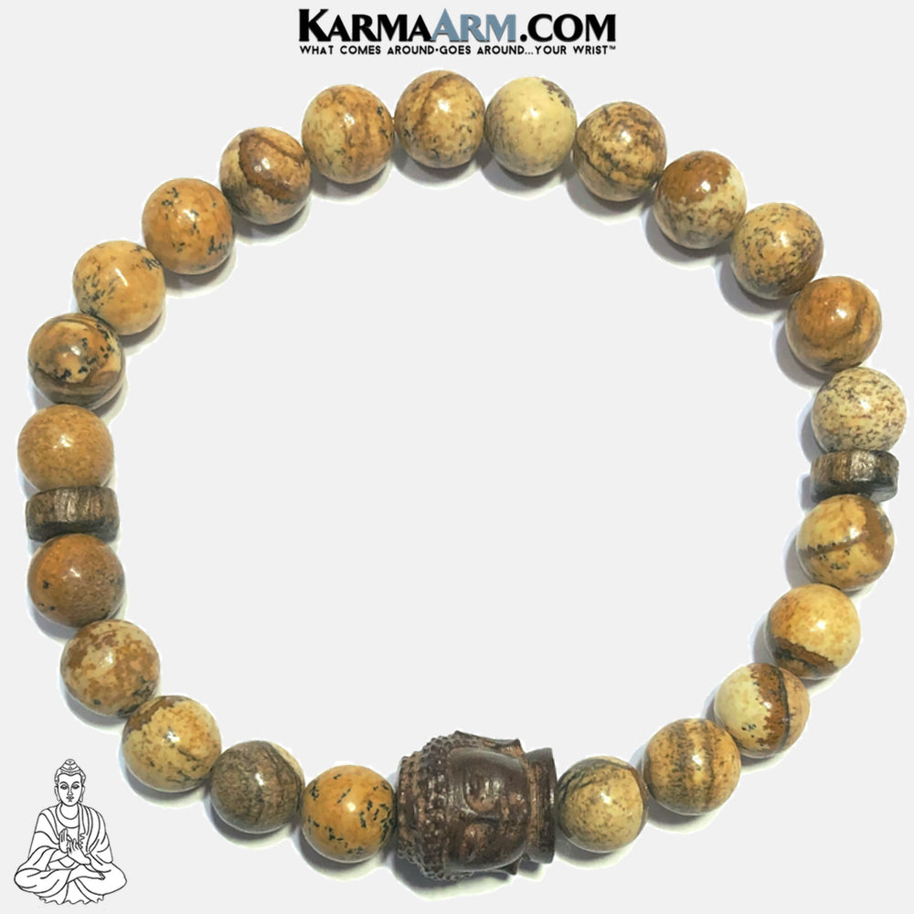 Buddha Self-Care Meditation Wellness Yoga Bracelets. Mens Wristband Jewelry. Picture Jasper. copy