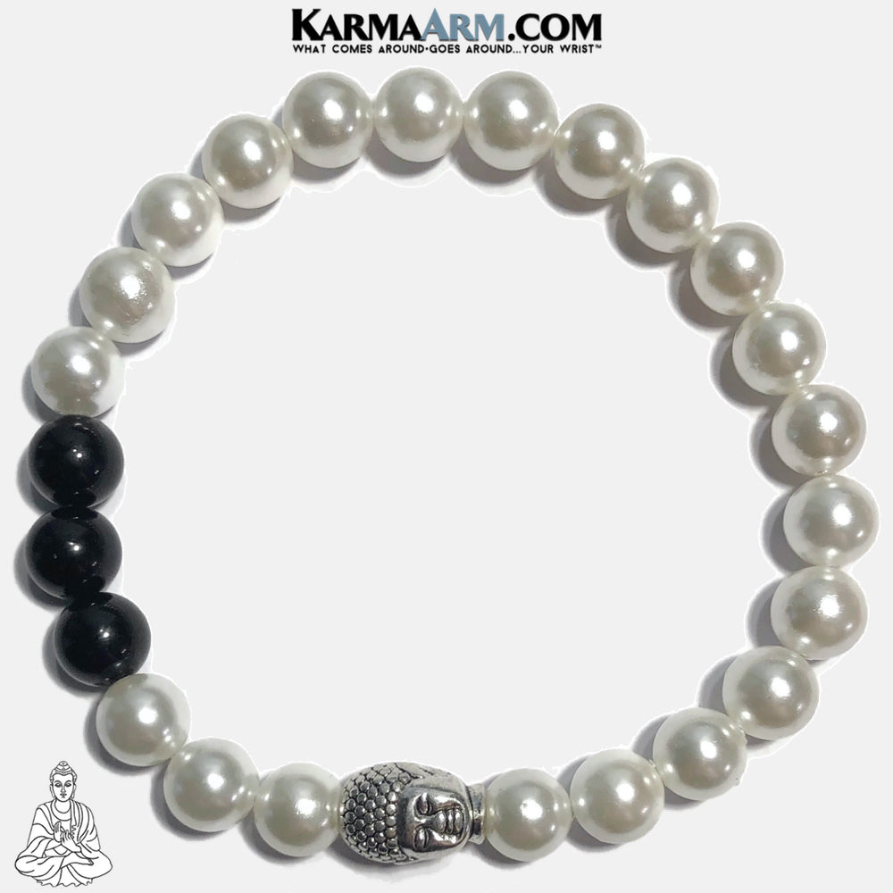 Buddha White Shell Pearl  Mindful Meditation Wellness Self-Care Yoga Bracelets. Mens Wristband Jewelry. copy