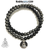 Buddha Charm Meditation Self-Care Wellness Mantra Yoga Bracelets. Mens Wristband Jewelry. lava Onyx Hematite.
