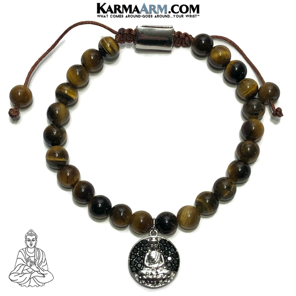 Buddha Charm Meditation Self-care wellness Mantra Yoga Bracelets. Mens Wristband Jewelry. Tiger Eye.