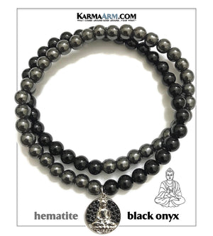 Buddha Charm Self-Care Wellness Meditation Mantra Yoga Bracelets. Mens Wristband Jewelry. Onyx Hematite.