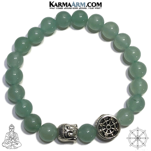 Buddha Dharma Wheel Bead Meditation Yoga Bracelets. Self-Care Wellness Wristband Jewelry. Green Aventurine.