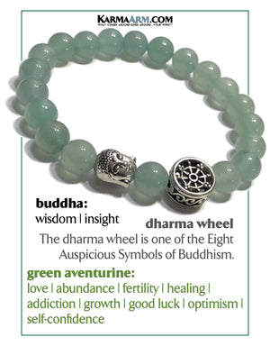 Buddha Dharma Wheel Meditation Mindfullness Yoga Bracelets. Self-Care Wellness Wristband Jewelry. Green Aventurine.