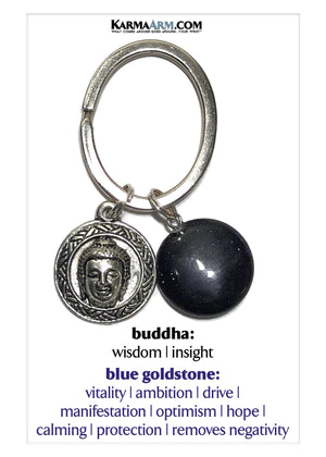 Buddha Keychain Meditation Self-Care Wellness Mantra Yoga Bracelet. Bead Wristband.  Blue Goldstone.