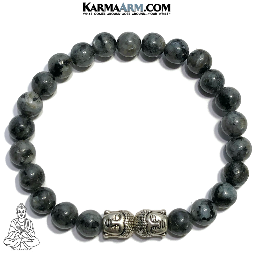 Buddha Meditation Mantra Self-Care Wellness Yoga Bracelets. Mens Wristband Jewelry. Black Labradorite.