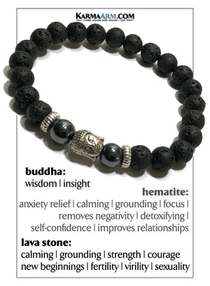 Buddha Meditation Mantra Yoga Bracelets. Mens Wristband Jewelry. Lava.