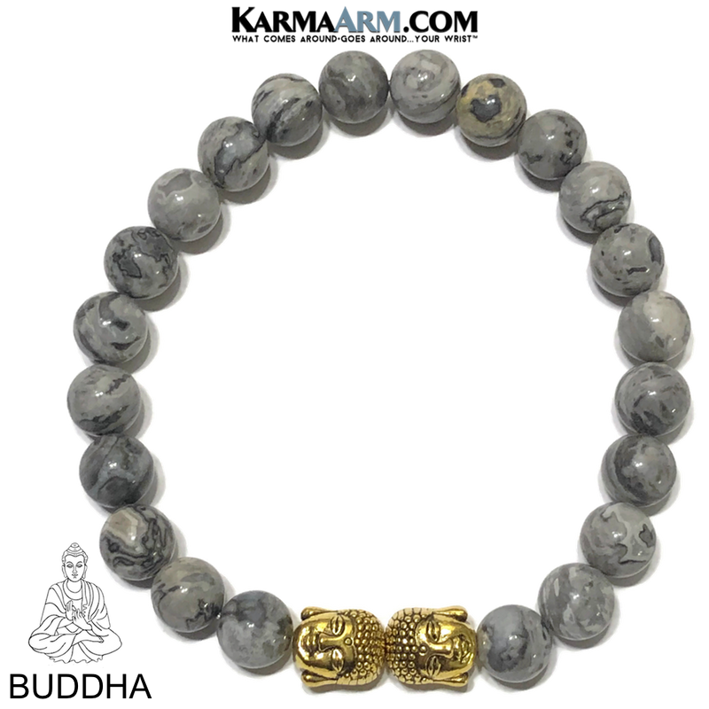Buddha Meditation Mantra Bead Yoga Bracelet. Self-Care Wellness Wristband. Crazy Lace Agate.
