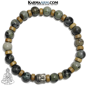 Buddha Meditation Self-Care Wellness Yoga Bracelets. Mens Wristband Jewelry. African Turquoise.