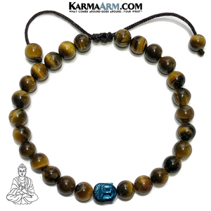 Buddha Meditation Self-care wellness Mantra Yoga Bracelets. Mens Wristband Jewelry. Tiger Eye. Blue Hematite.