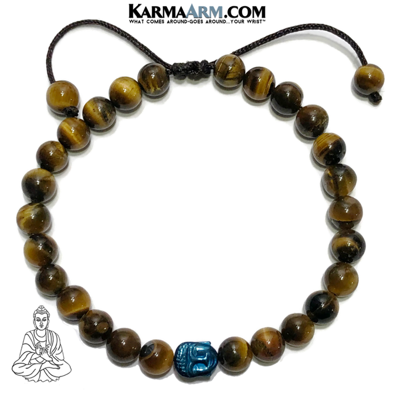 Buddha Meditation Mantra Yoga Bracelets. Mens Self-care wellness Wristband Jewelry. Blue Hematite Tiger Eye.