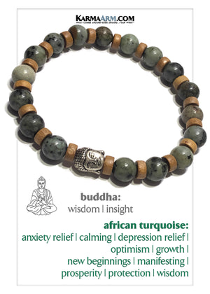 Buddha Meditation Wellness Yoga Bracelets. Mens Wristband Self-Care Jewelry. African Turquoise.