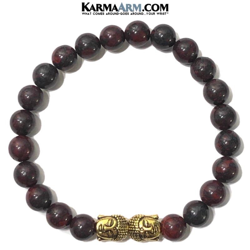 Buddha Meditation Yoga bracelets. mens wristband jewelry. Bloodstone.