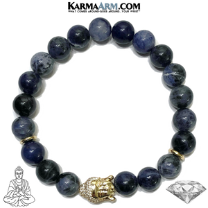 Buddha Mindful Meditation Mantra Yoga Bracelet. Self-Care Wellness Wristband Sodalite.