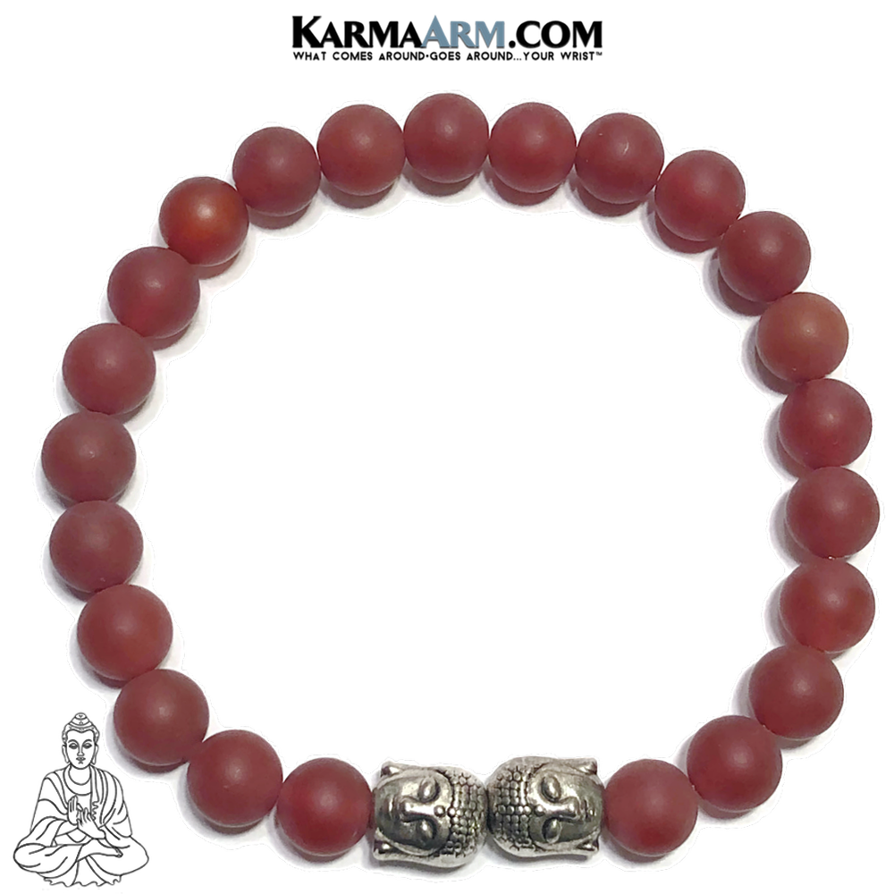 Buddha Mindful Meditation Yoga Bracelet. Self-Care Wellness Wristband Red Agate.