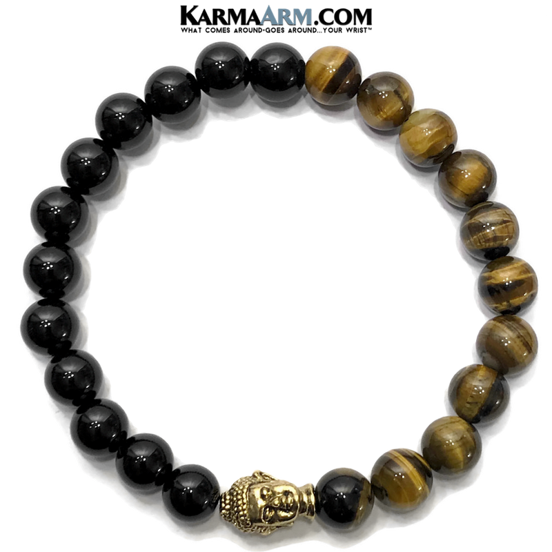 wellness zen Self-Care Buddha Tiger Eye Bracelet. Black Onyx Mens Jewelry. Hematite meditation bracelet. Wisdom.