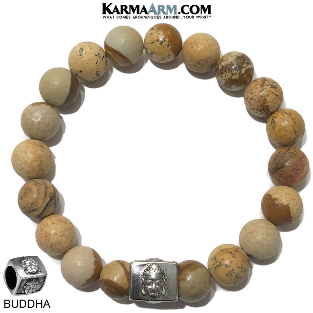 Buddha Wellness Self-Care Meditation Yoga Bracelets. Mens Wristband Jewelry. Pictute Jasper.