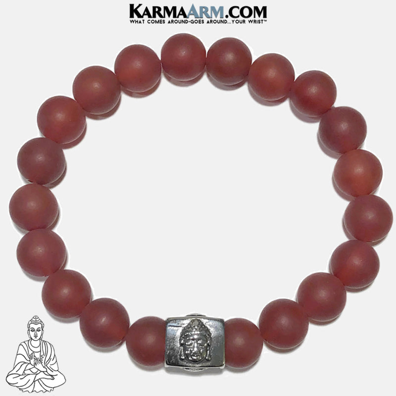 Buddha red Agate Meditation Mantra Yoga Bracelet. Self-Care Wellness Wristband Jewelry.