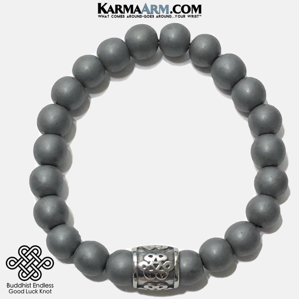 Buddhist Endless Knot Meditation Mantra Yoga Bracelets. Mens Wristband Jewelry. Hematite.