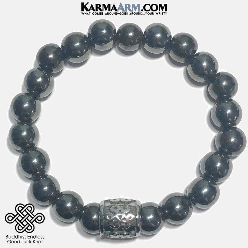 Buddhist Endless Knot Meditation Mantra Yoga Bracelets. Mens Wristband Jewelry. Polished Hematite.