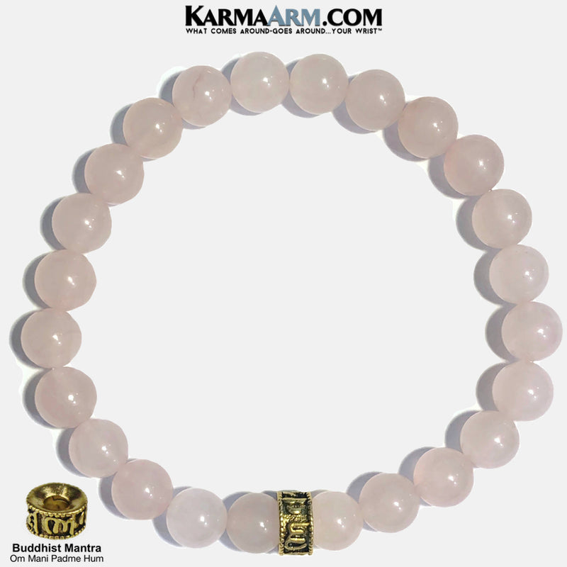 Buddhist Mantra Meditation Self-Care Yoga Bracelet. Wellness Wristband Yoga Jewelry. Rose Quartz.
