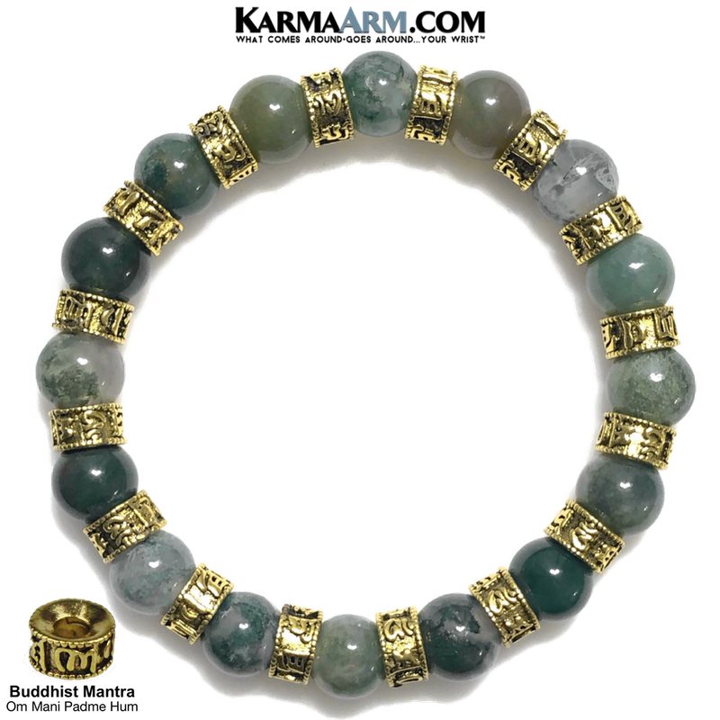 Buddhist Mantra | Om Mani Padme Hum | Green Moss Agate | 10mm Gold Rondelles